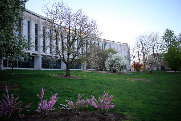 Global and International Studies Building in spring