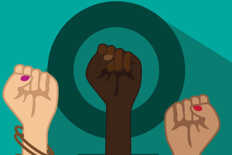 A dark teal female symbol on a teal background with three womens' fists jutting out from the bottom.