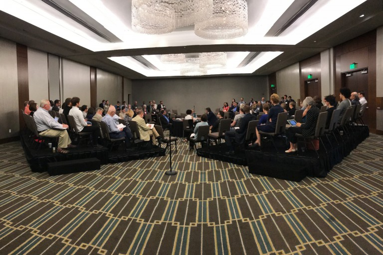 A room filled with people during the biennial conference on religion and American culture