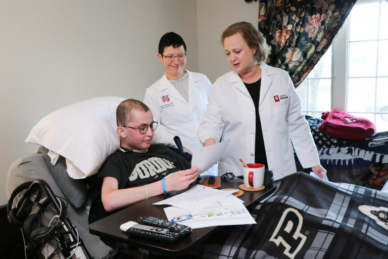 IU researchers visited Tyler Trent at home in December 2018