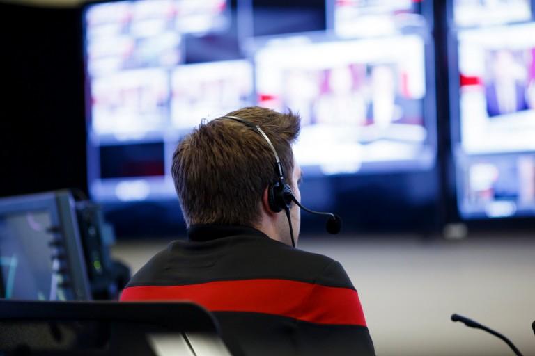Student in digital media studio