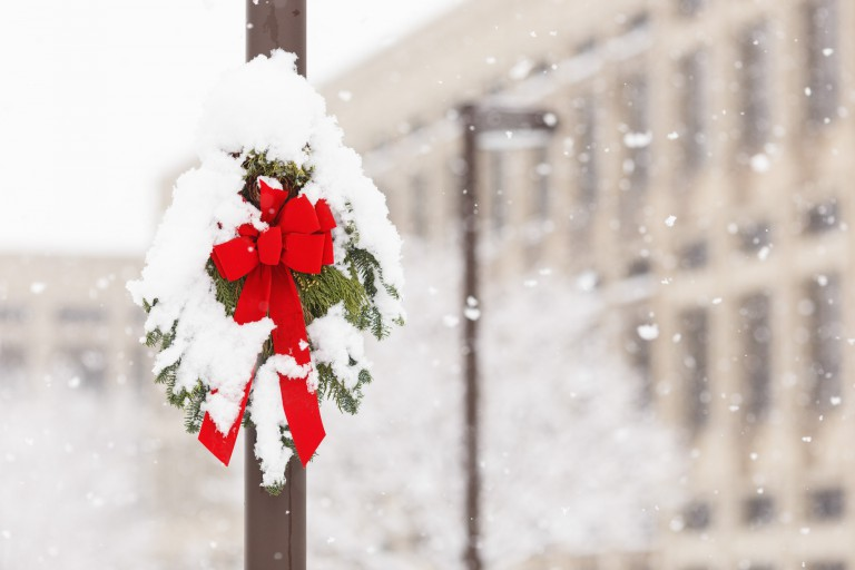 A snowy wreath on campus