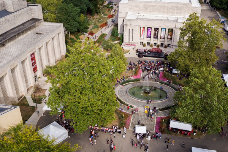 An aerial photo of IU's Fine Arts Plaza
