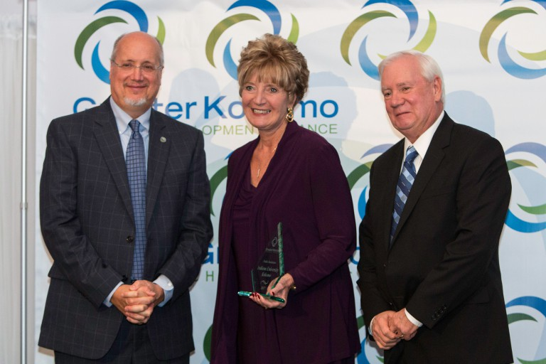 Chancellor Susan Sciame-Giesecke accepts the Public Institution of the Year award