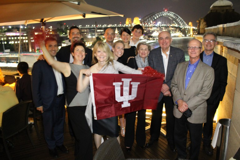 Members of IU's Australia alumni chapter with the IU delegation in Sydney.