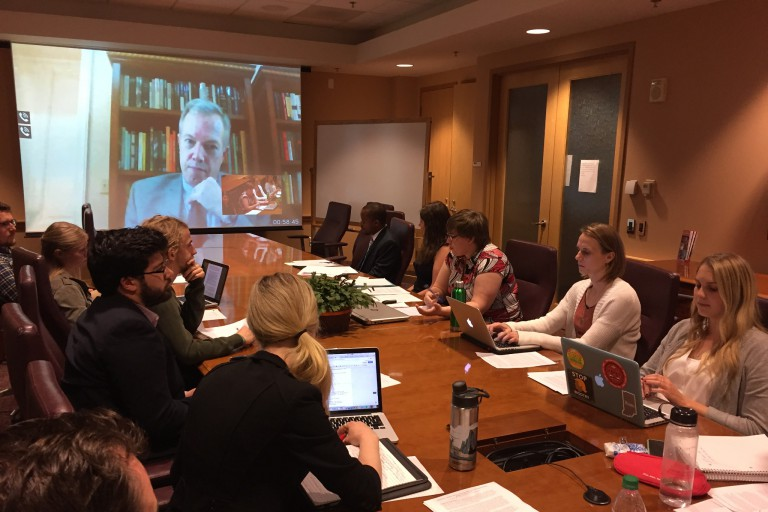 Students in an IU Diplomacy Lab course brief Ted Osius, the U.S. ambassador to Vietnam.