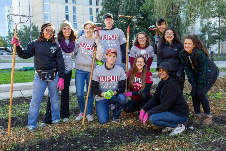 A group of students pose for a photo during IUPUI Day of Caring