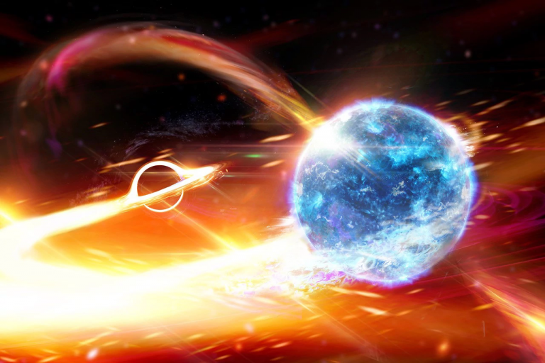 An artistic impression of a neutron star merging with a black hole.