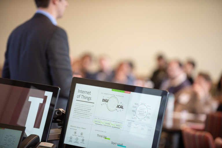 Open laptop in classroom
