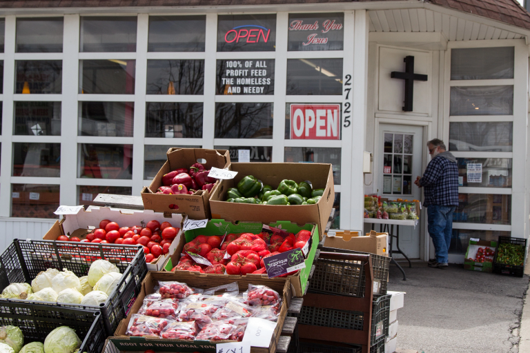 A produce stand in the near west neighborhood
