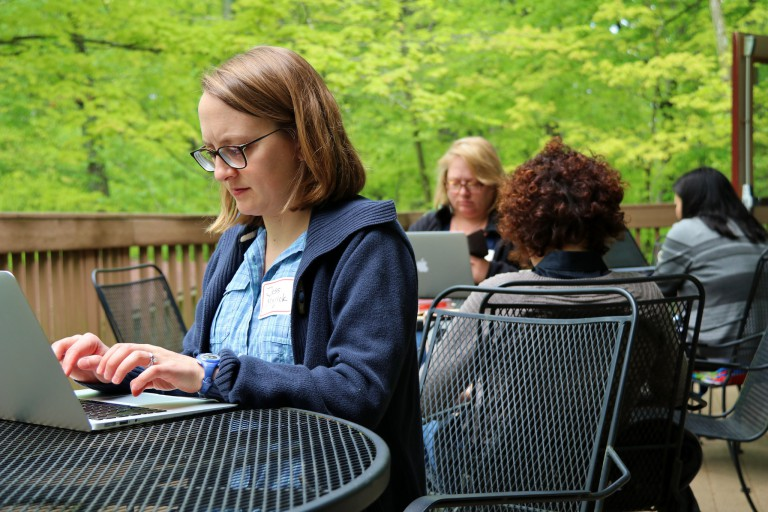 IU assistant professor Jessica Gall Myrick at the Scholarly Writing Program's writing retreat.