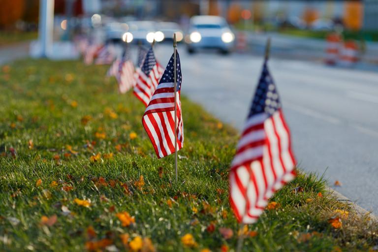 Flags along the roadside