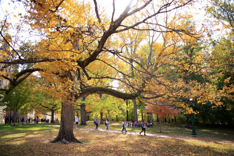 IU's campus during the fall