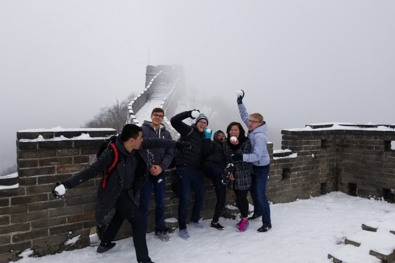A snowball fight on China's Great Wall.