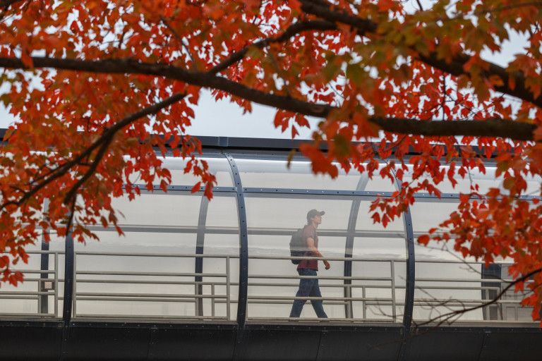 A student walks across a pedestrian bridge on the IUPUI campus
