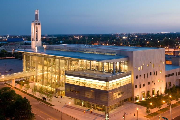 IUPUI Campus Center at dusk