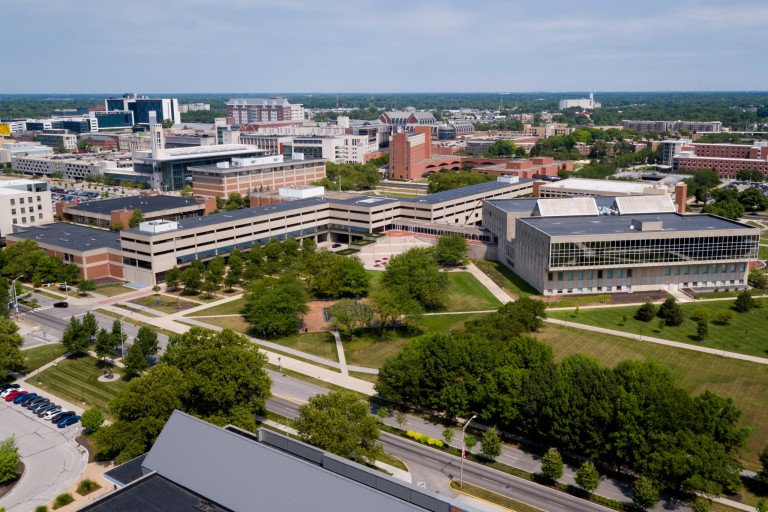 Aerial photo shows Kelley School of Business/SPEA Building on the IUPUI campus.