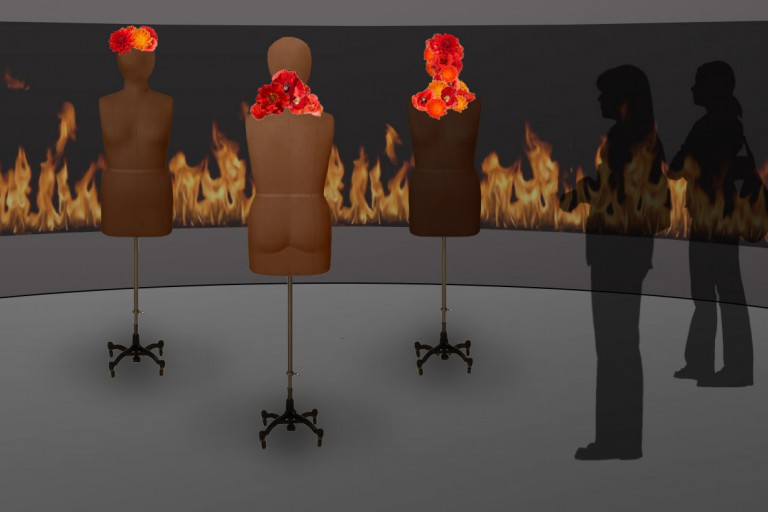 rendering of 'Hot flashes? Cool!' exhibit piece with dress form mannequins and flowers