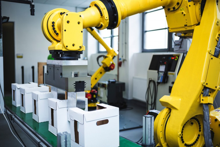 Industrial robot at work
