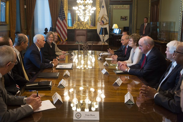 IU President McRobbie with Vice President Pence and other U.S. university presidents.
