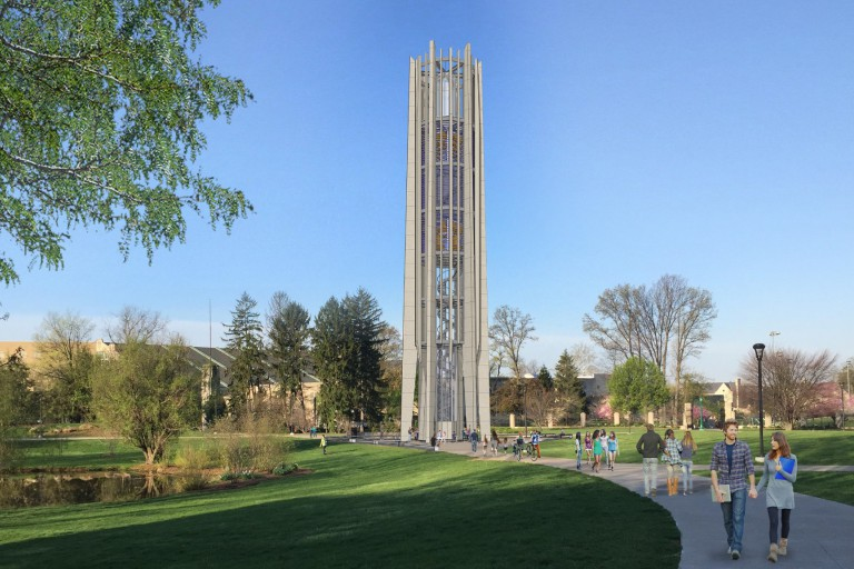 A graphic rendering of the Metz Carillon's renovation and relocation