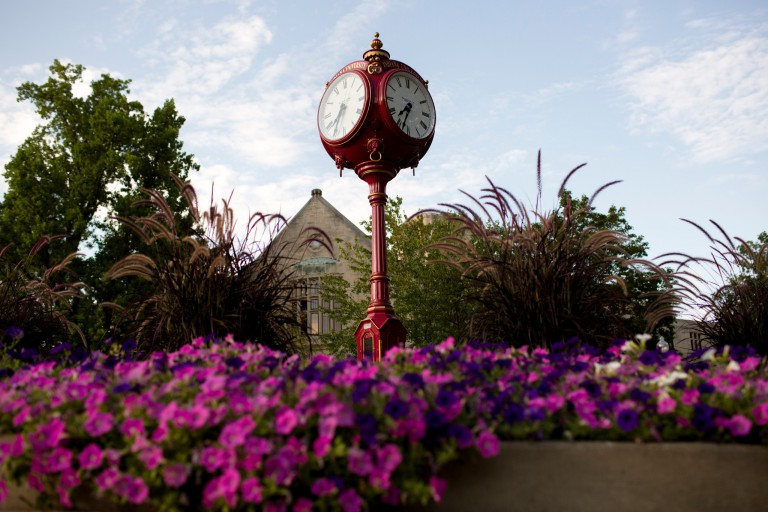 Red clock on the IU Bloomington campus