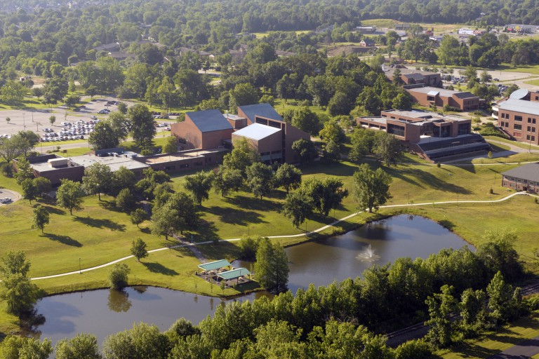 An aerial view of the IU Southeast campus