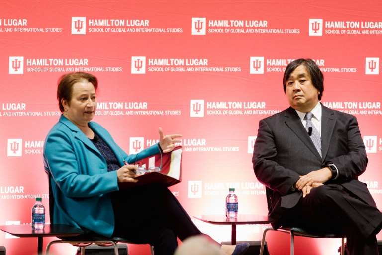 IU Bloomington Provost Lauren Robel talks with Harold Hongju Koh on a stage