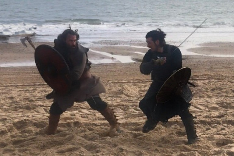 "Patrick Kelly fights in a scene from ""Vikings"""