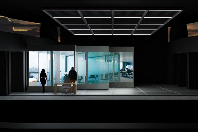 """Set design of Steve Jobs's office from the opera """"The (R)evolution of Steve Jobs."""""""