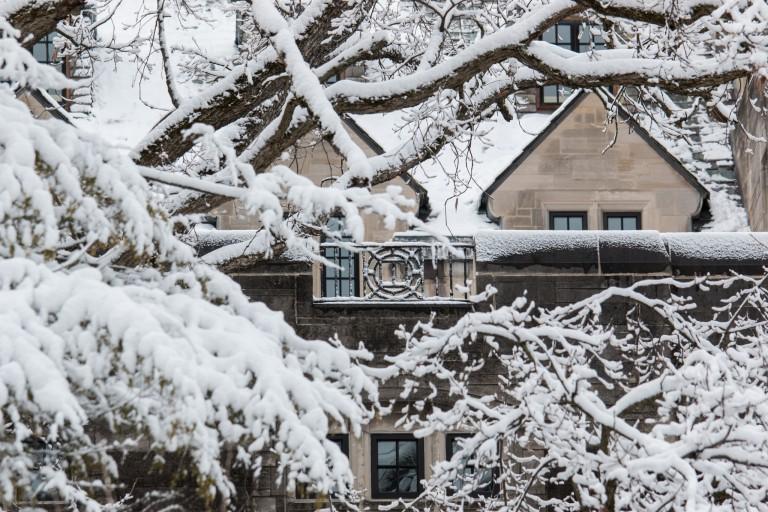 Snowy campus scenic