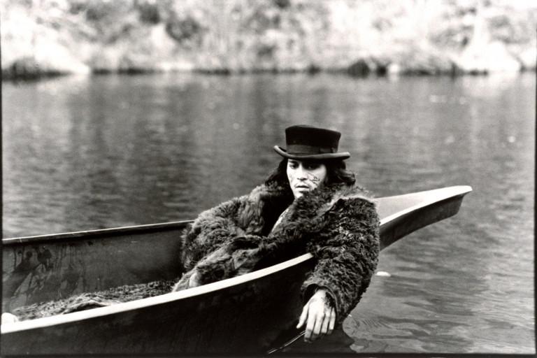 Scene of Johnny Depp in a boat from 'Dead Man'