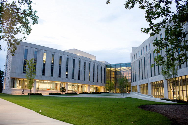 Exterior of the Hamilton Lugar School of Global and International Studies building