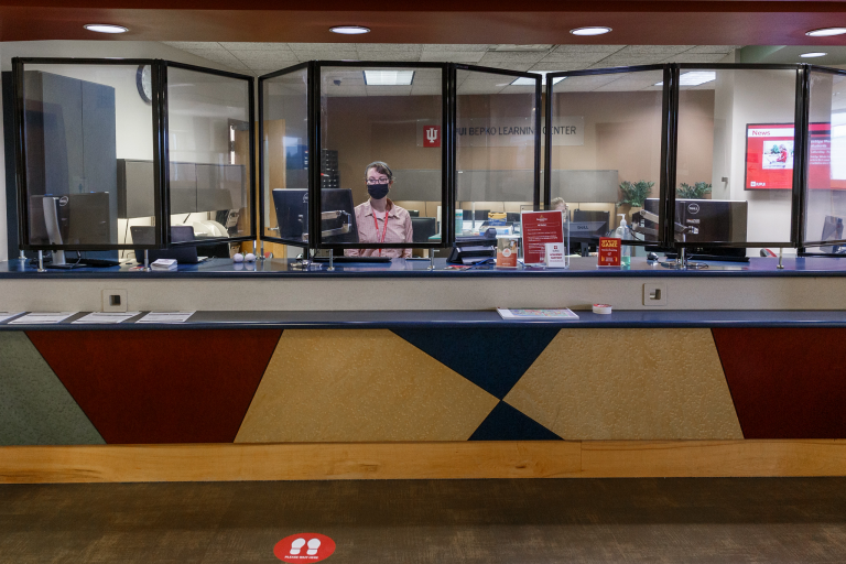 The front desk of the Bepko Learning Center.