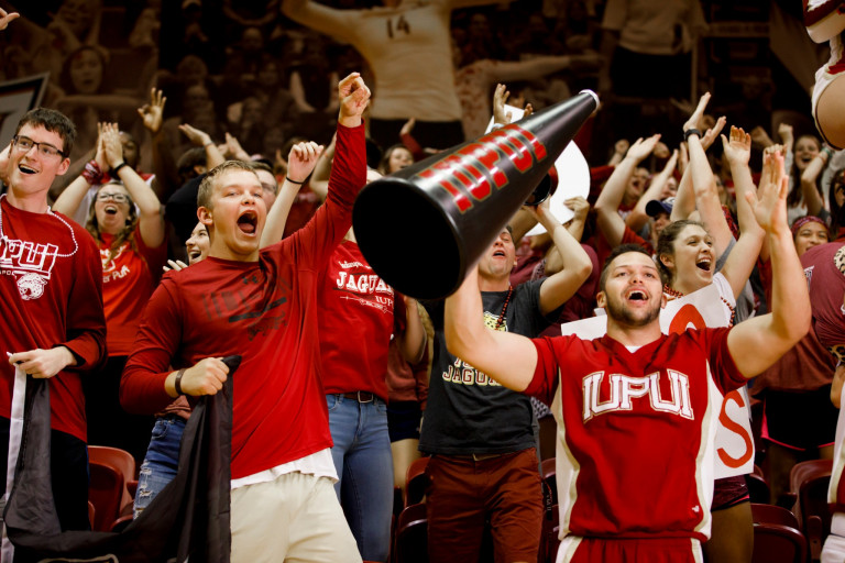 The IUPUI crowd gets riled up for a game of hoops