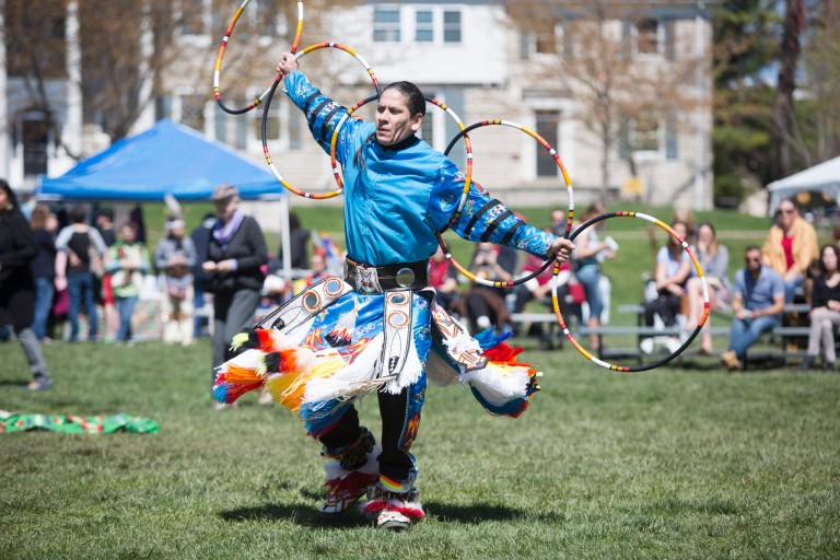 A hoop dancer at the 2017 IU Powwow
