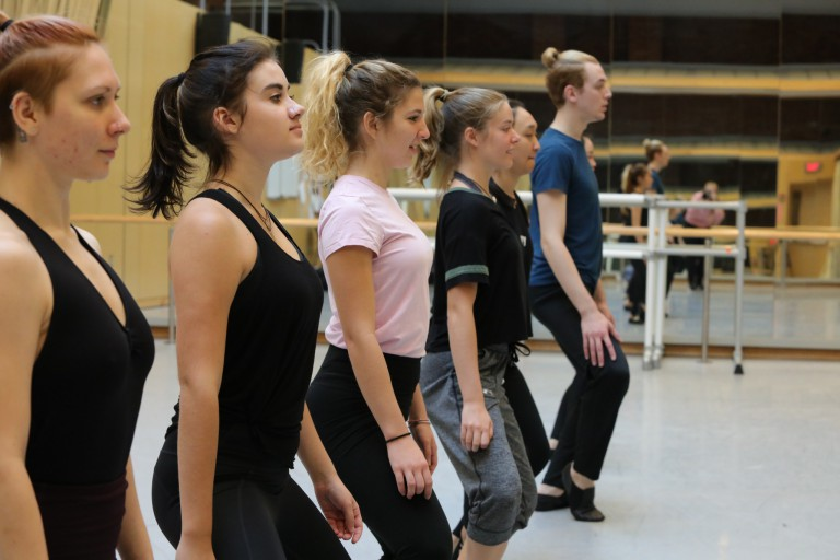 Students take part in the 'Fundamentals of Movement and Creativity: Twyla Tharp' class at IU.