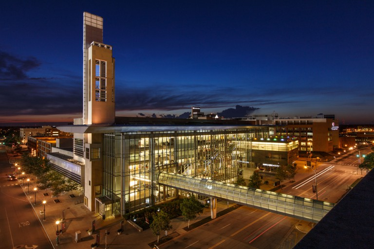 IUPUI Campus Center lit up at night