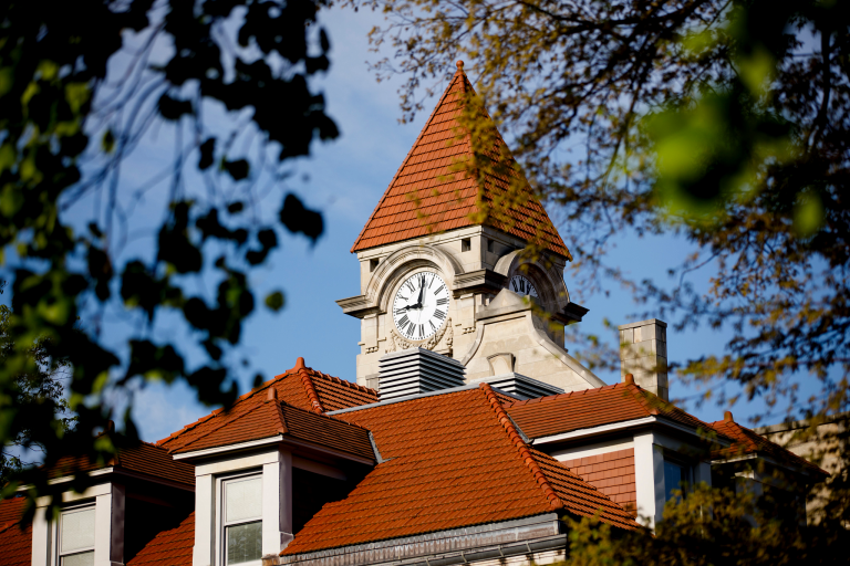 The Student Building clock tower is pictured on a spring morning at IU Bloomington, May 2020.