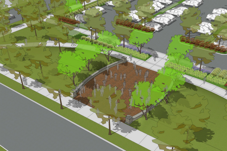 A rendering of a new admissions plaza