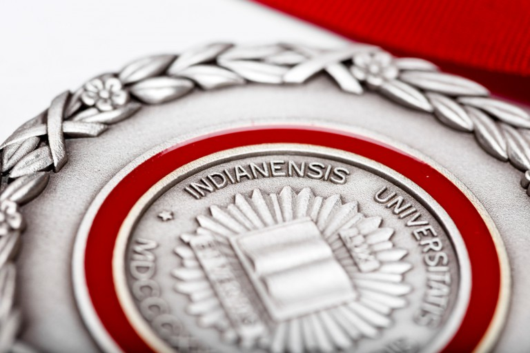 The IU seal on the Distinguished Service Medal