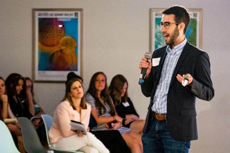 Adam Sobol delivers a presentation on CareBand