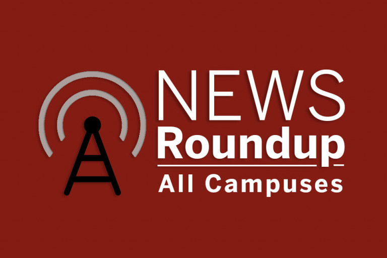 White text on a red background reads News Roundup, all campuses