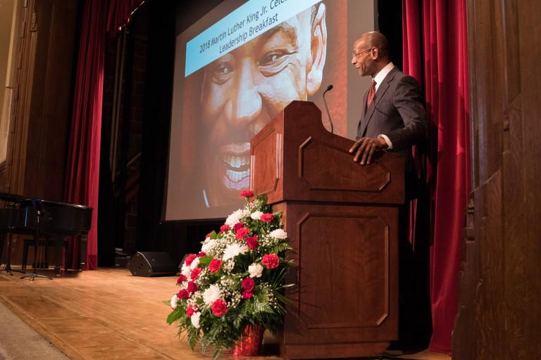 IU Vice President James Wimbush speaks at the 2018 MLK Day breakfast