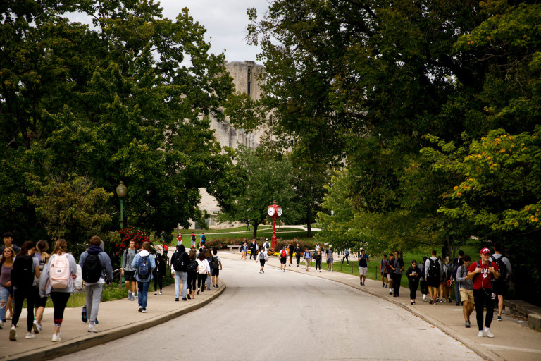 Busy sidewalks filled with students walking to class