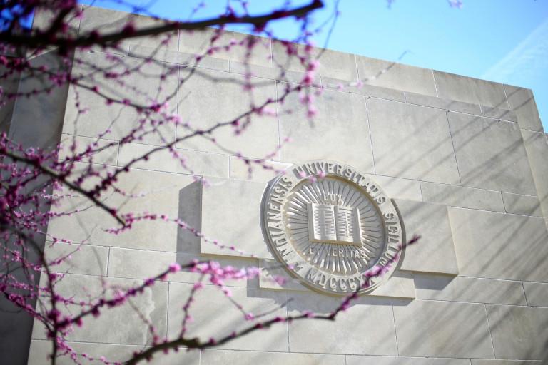 A limestone seal on the IU campus