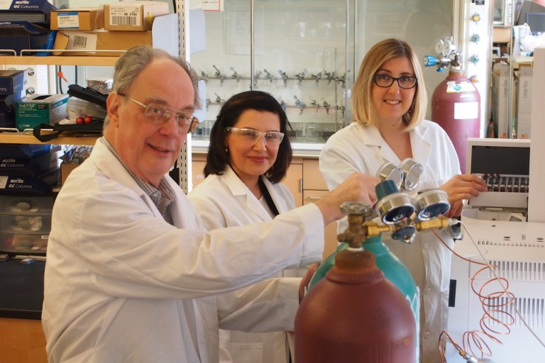 Hites lab. From left, Ronald Hites, Amina Salamova and Marta Venier