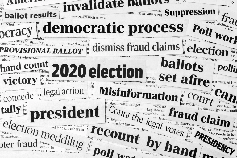 "collage of news clippings saying various things like ""2020 election"" and ""president"" and ""ballots"""