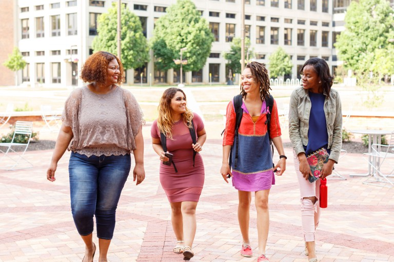 Students walk on the IUPUI campus