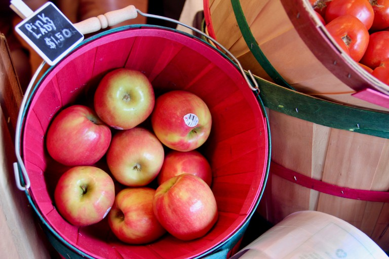 A basket of apples in the Campus Center